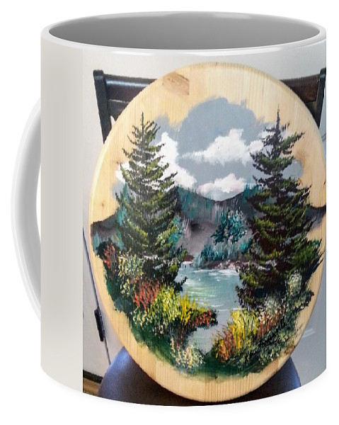 Kandscape Coffee Mug featuring the painting Mountain Lake by Ken Farnsworth