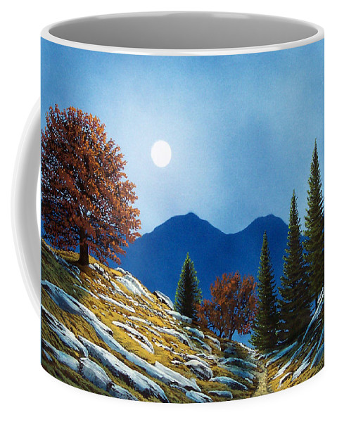 Landscape Coffee Mug featuring the painting Mountain Moonrise by Frank Wilson