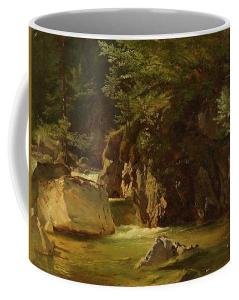 Steffan Coffee Mug featuring the painting Mountain Stream by Johann