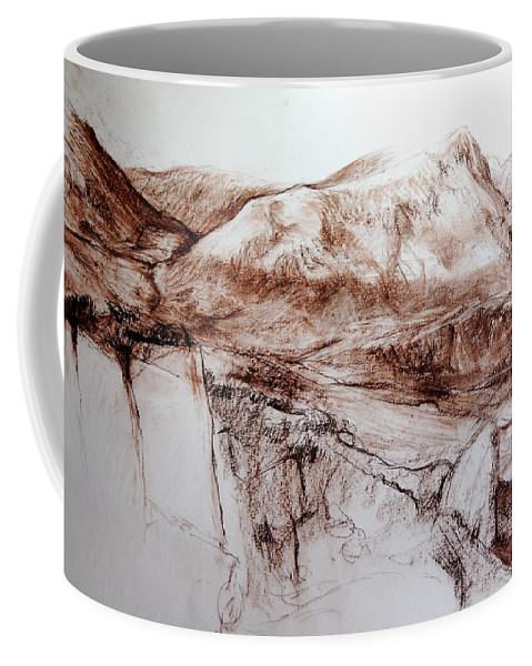 Mountains Coffee Mug featuring the drawing Mountains In Snowdonia by Harry Robertson
