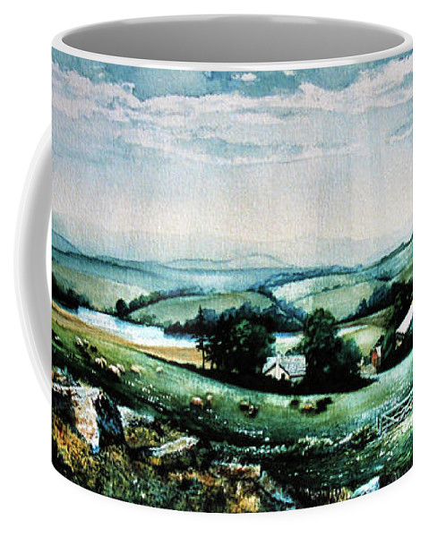 Farm Landscape Painting Coffee Mug featuring the painting Neighbours by Hanne Lore Koehler