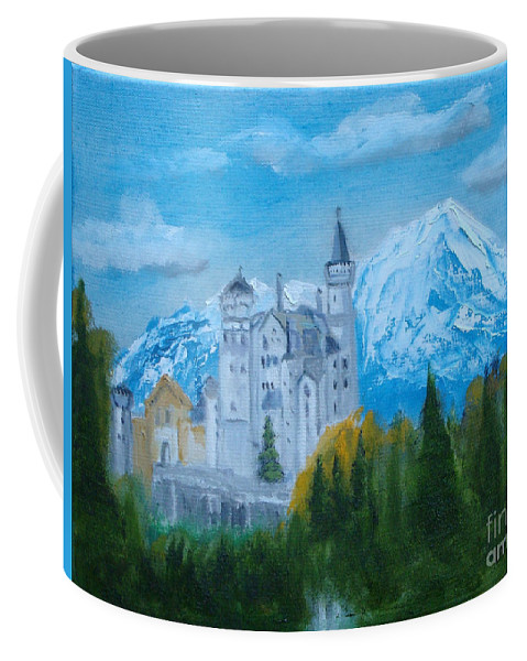 Castle Coffee Mug featuring the painting Neuschwanstein Castle In Bavaria by Rod Jellison