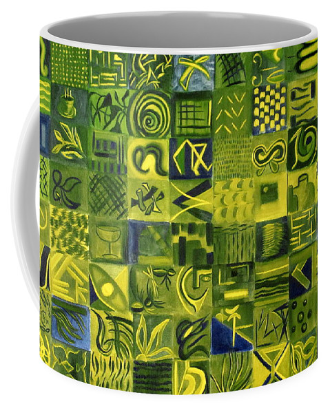 Green Coffee Mug featuring the painting Night On The Lawn by Patricia Cleasby