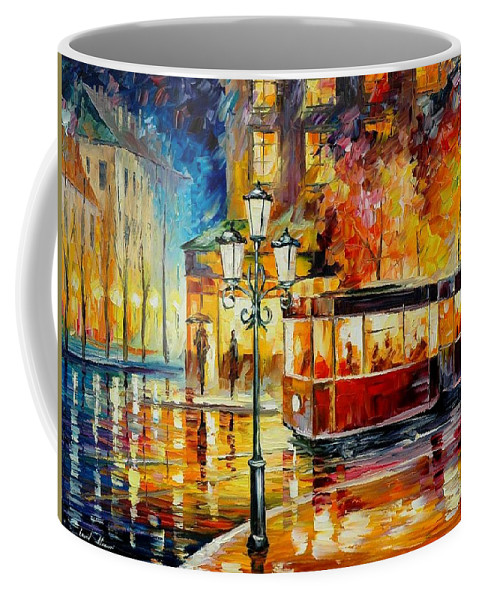 Afremov Coffee Mug featuring the painting Night Trolley by Leonid Afremov