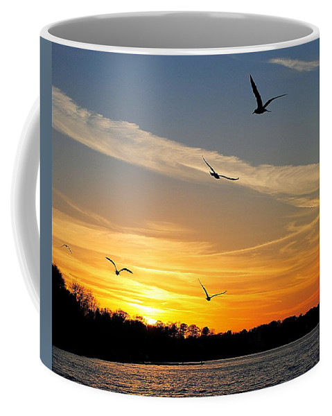 Lake Coffee Mug featuring the photograph November Sunset by Frozen in Time Fine Art Photography