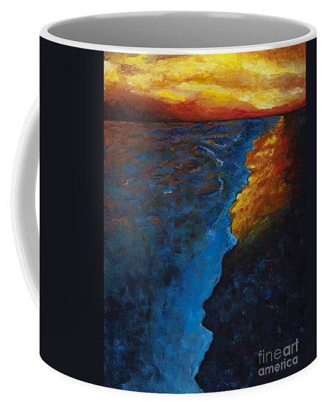 Abstract Ocean Coffee Mug featuring the painting Ocean Sunset by Frances Marino