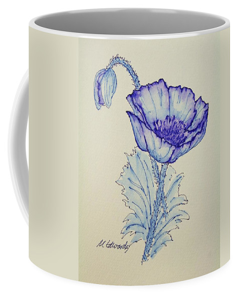 Poppy Coffee Mug featuring the drawing Oh Poppy by Marna Edwards Flavell