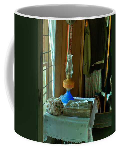 Oil Coffee Mug featuring the photograph Oil Lamp And Bible by Douglas Barnett
