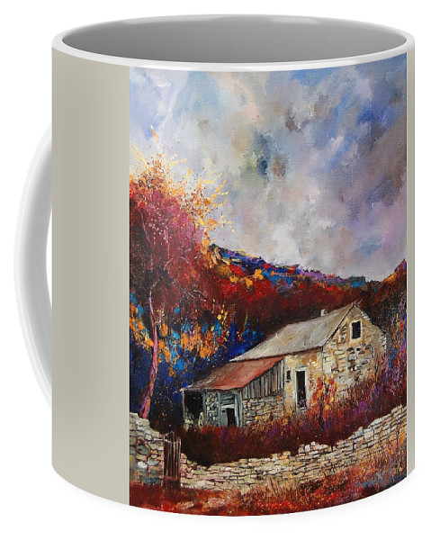 Village Coffee Mug featuring the painting Old barn by Pol Ledent
