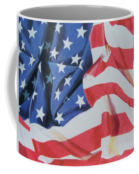 Flag Coffee Mug featuring the mixed media Old Glory by Constance Drescher