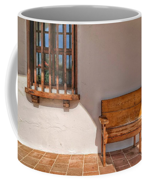 Bench Coffee Mug featuring the photograph Old Mission San Luis Rey by Josh Coleman
