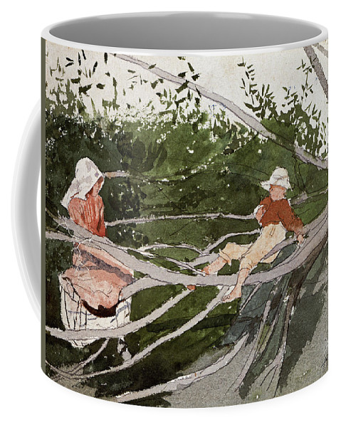 Winslow Homer Coffee Mug featuring the drawing Out On A Limb by Winslow Homer