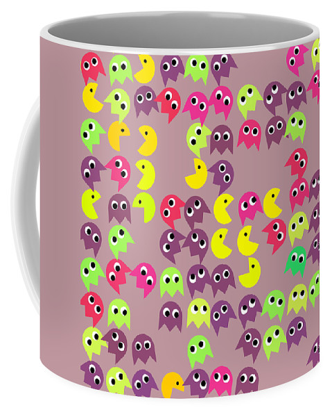 Pacman Coffee Mug featuring the digital art Pacman Seamless Generated Pattern by Miroslav Nemecek