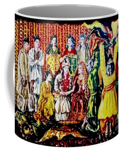 Oil Painting Coffee Mug featuring the painting Pakistani Wedding by Fareeha Khawaja