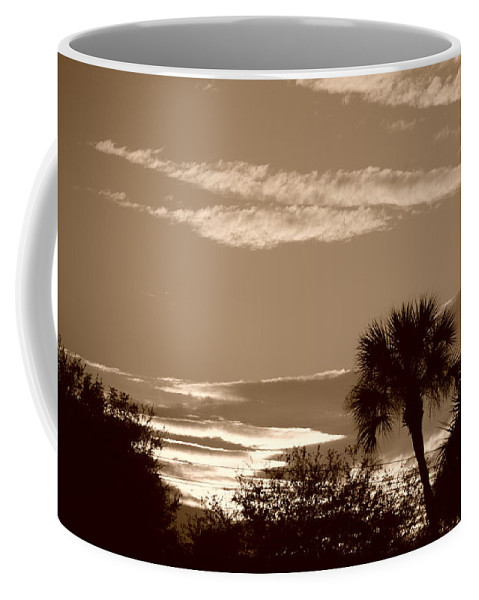 Sepia Coffee Mug featuring the photograph Palms In The Clouds by Rob Hans