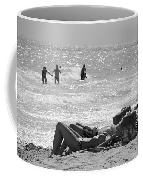 Black And White Coffee Mug featuring the photograph Paradise Beach by Rob Hans