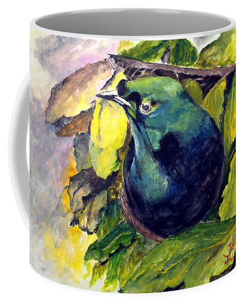 Paradise Coffee Mug featuring the painting Paradise Bird by Jason Sentuf