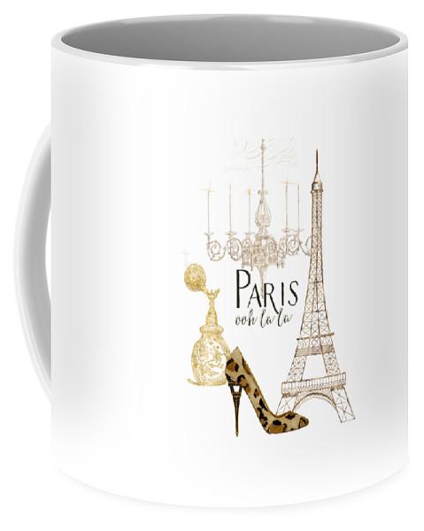Fashion Coffee Mug featuring the painting Paris - Ooh La La Fashion Eiffel Tower Chandelier Perfume Bottle by Audrey Jeanne Roberts
