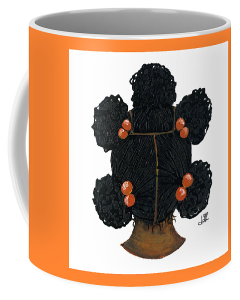 Naturally Me Kidz Coffee Mug featuring the painting Peaches by Sonja Griffin Evans