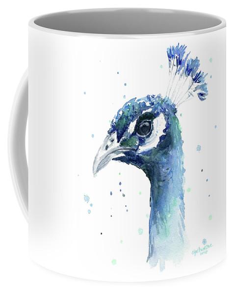 Peacock Coffee Mug featuring the painting Peacock Watercolor by Olga Shvartsur