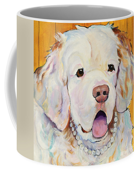 Dog With Pearls Coffee Mug featuring the painting Pearl by Pat Saunders-White