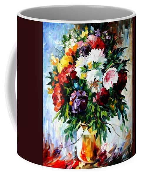 Afremov Coffee Mug featuring the painting Peonies by Leonid Afremov