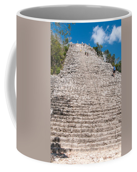 Mexico Quintana Roo Coffee Mug featuring the digital art People Climbing Nohoch Mul At The Coba Ruins by Carol Ailles