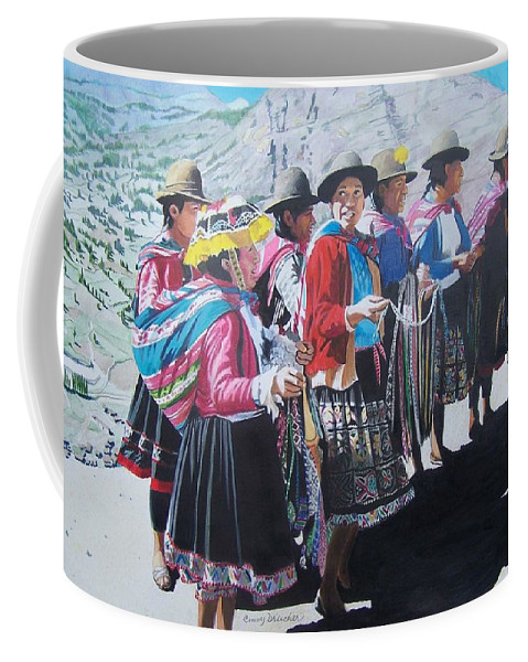 Outdoors Coffee Mug featuring the mixed media Peruvian Ladies by Constance Drescher