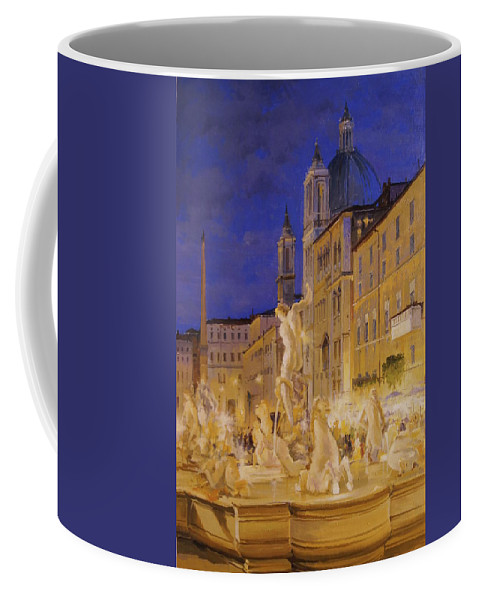Rome Coffee Mug featuring the painting Piazza Navona, Rome by Lucio Campana