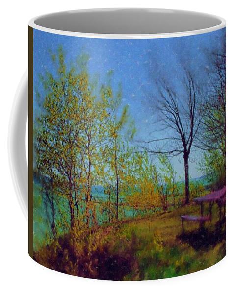 Lake Coffee Mug featuring the digital art Picnic Table By The Lake by Anita Burgermeister