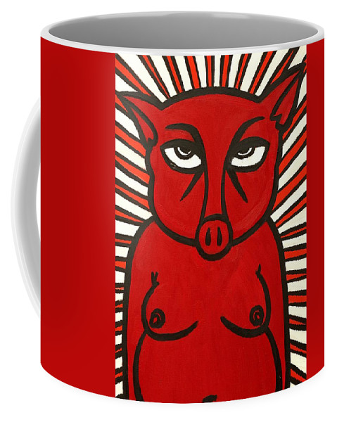 Clay Coffee Mug featuring the painting pig by Thomas Valentine