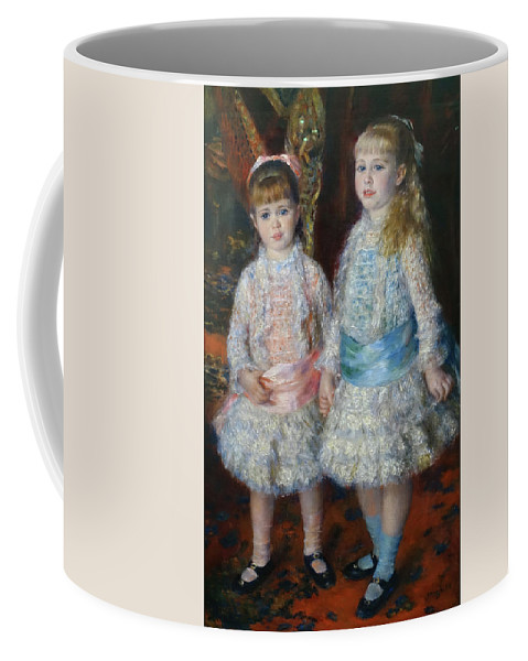 Pink And Blue Coffee Mug featuring the painting Pink And Blue by Pierre-Auguste Renoir