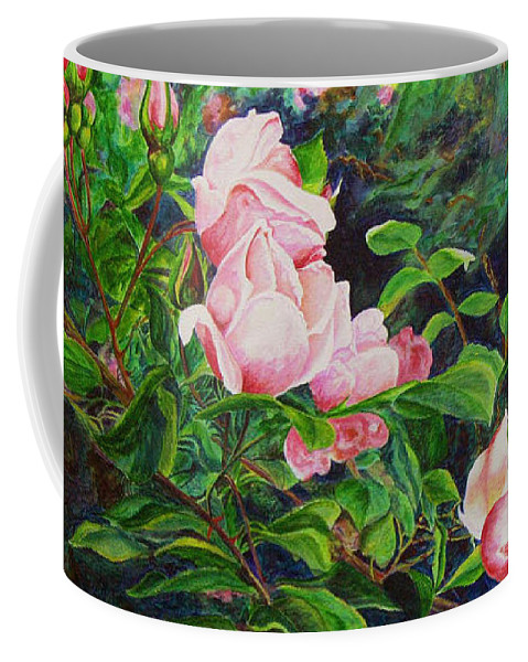 Roses Coffee Mug featuring the painting Pink Cascade by Elaine Booth-Kallweit