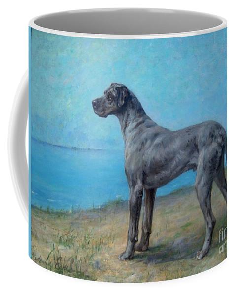 Maud Earl - Portrait Of A Great Dane Coffee Mug featuring the painting Portrait Of A Great Dane by MotionAge Designs
