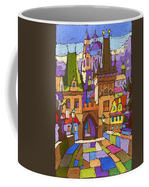 Pastel Coffee Mug featuring the painting Prague Charles Bridge 01 by Yuriy Shevchuk