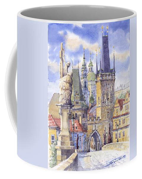 Watercolour Coffee Mug featuring the painting Prague Charles Bridge by Yuriy Shevchuk