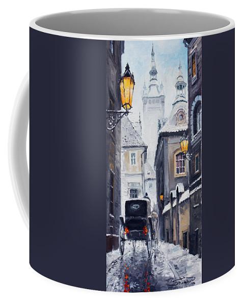 Oil Coffee Mug featuring the painting Prague Old Street 02 by Yuriy Shevchuk