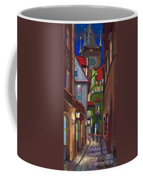 Pastel Coffee Mug featuring the painting Prague Old Street by Yuriy Shevchuk