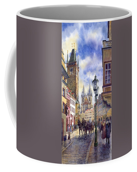 Watercolour Coffee Mug featuring the painting Prague Old Town Square 01 by Yuriy Shevchuk