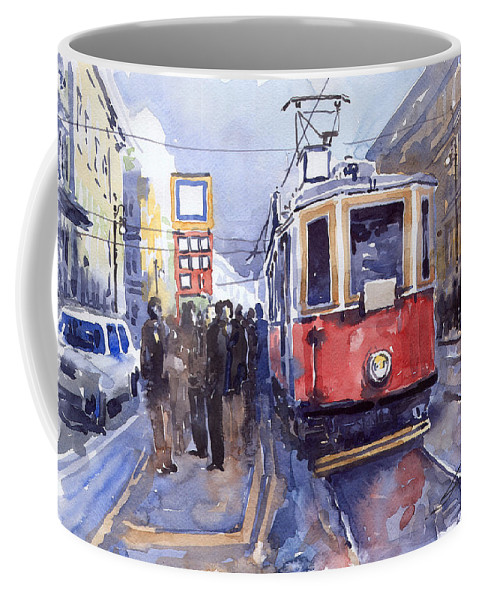 Cityscape Coffee Mug featuring the painting Prague Old Tram 03 by Yuriy Shevchuk