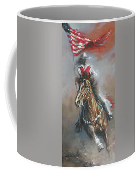 American Flags Coffee Mug featuring the painting Presenting The Colors by Mia DeLode