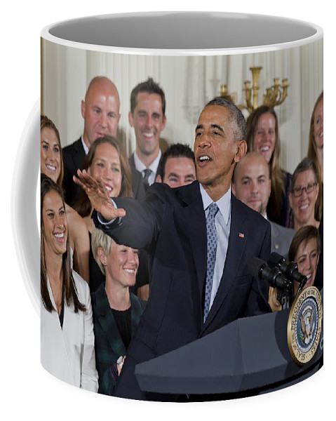 President Coffee Mug featuring the photograph President Obama Honors Us Womens Soccer Team At White House #2 by B Christopher