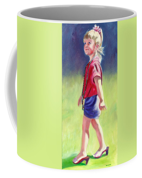 Child Coffee Mug featuring the painting Pretty In Pink by Shannon Grissom