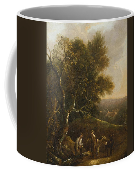 Probably A German Painter From The 18th Century Woodsmen On The Forest Edge Coffee Mug featuring the painting Probably A German Painter by MotionAge Designs