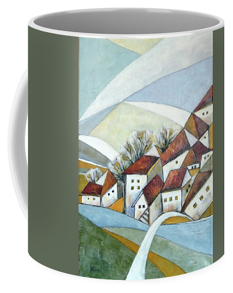 Abstract Coffee Mug featuring the painting Quiet Village by Aniko Hencz