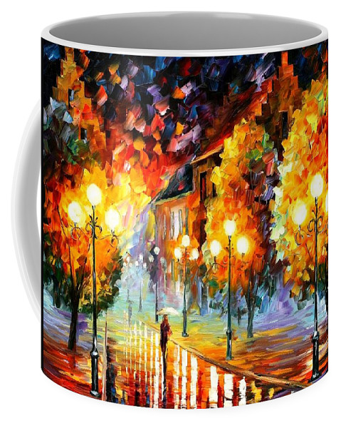 Afremov Coffee Mug featuring the painting Rain In The Night City by Leonid Afremov
