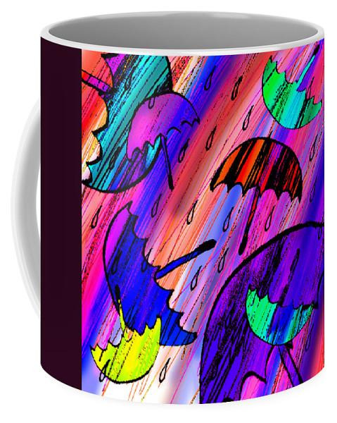 Abstract Coffee Mug featuring the digital art Rainy Day Love by Rachel Christine Nowicki