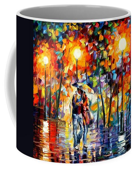 Afremov Coffee Mug featuring the painting Rainy Evening by Leonid Afremov