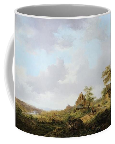 Frederik-marinus Kruseman ; Ramblers On A Path Coffee Mug featuring the painting Ramblers On A Path by Frederik