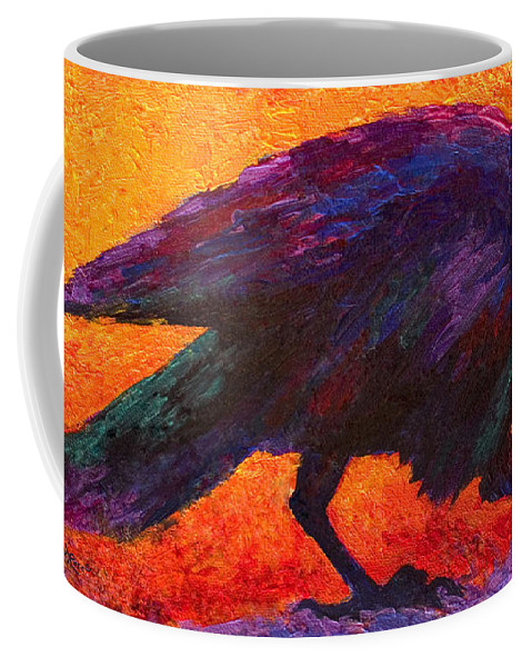 Crows Coffee Mug featuring the painting Raven by Marion Rose